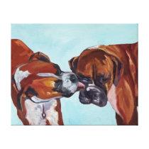 Kissing Boxers Art Portrait Canvas Print