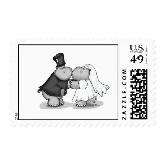 Kissing Bride and Groom Hippos - Personalize Postage