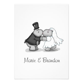 Kissing Bride & Groom Hippos Personalize Personalized Invitations