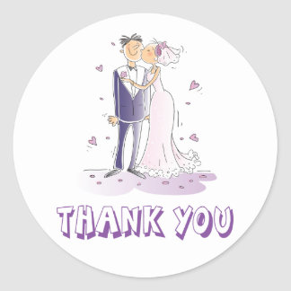 Kissing Bride & Groom Purple Thank You Sticker