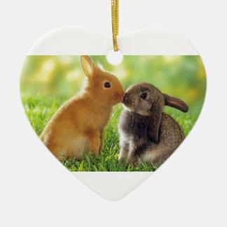 Kissing Bunnies Ceramic Ornament