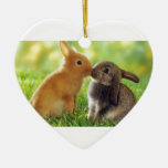 Kissing Bunnies Christmas Tree Ornament