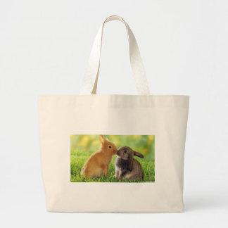 Kissing Bunnies Large Tote Bag