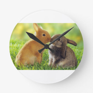 Kissing Bunnies Round Clock