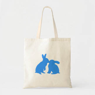 Kissing Bunny Rabbits Tote Bag blue silhouette