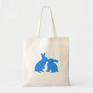 Kissing Bunny Rabbits Tote Bag (blue silhouette)