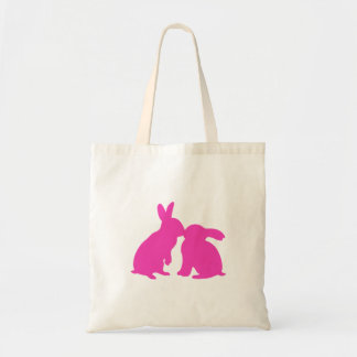 Kissing Bunny Rabbits Tote Bag pink silhouette