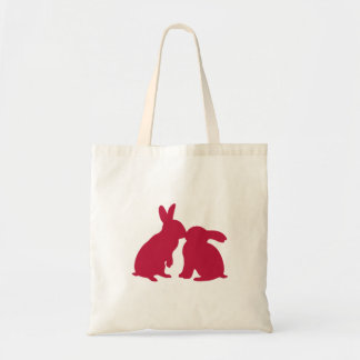 Kissing Bunny Rabbits Tote Bag red silhouette
