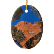 Kissing Camels Framed by Tree 01 Ceramic Ornament