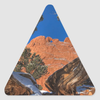 Kissing Camels Framed by Tree 01 Triangle Sticker