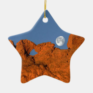 Kissing Camels Rock Formation with Full Moon Ornaments