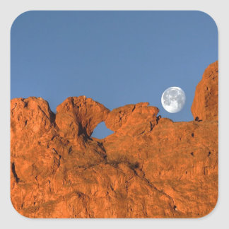 Kissing Camels Rock Formation with Full Moon Square Sticker