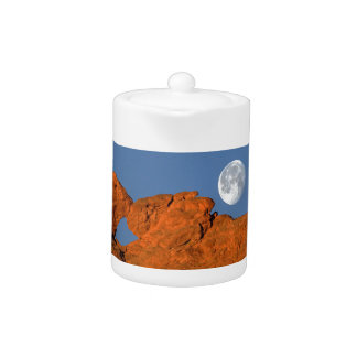 Kissing Camels Rock Formation with Full Moon Teapot