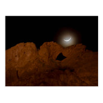 Kissing Camels Under Crescent Moon 01 Postcard