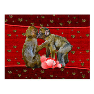 Kissing Chimpanzees Floating Hearts Postcard