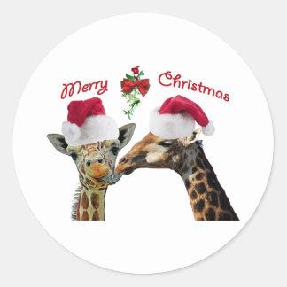 Kissing Christmas Giraffes Under Mistletoe Classic Round Sticker
