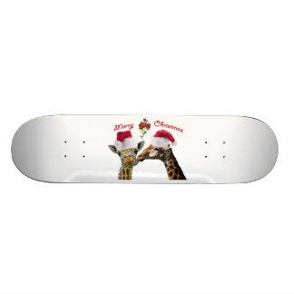 Kissing Christmas Giraffes Under Mistletoe Skateboard