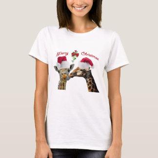 Kissing Christmas Giraffes Under Mistletoe T-Shirt