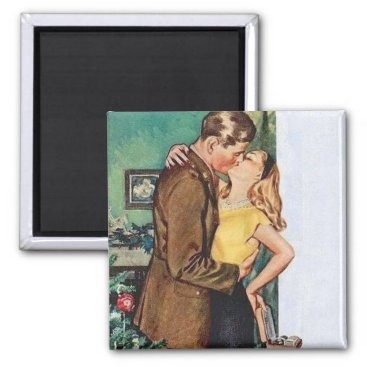 Kissing Couple Christmas Vintage Magnet