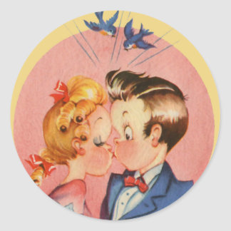 Kissing Couple Classic Round Sticker