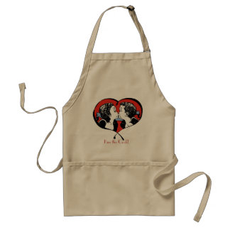 Kissing Couple - girl surprised Adult Apron