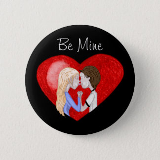 Kissing Couple (in heart) Pinback Button
