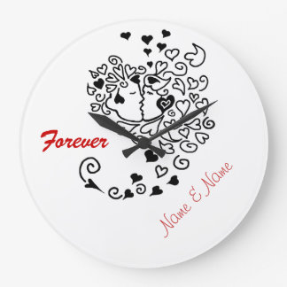 Kissing Couple Profile Hearts Hair Forever Clock