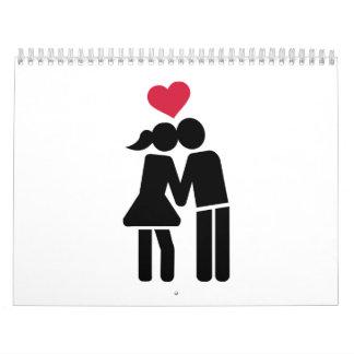 Kissing couple red heart calendar