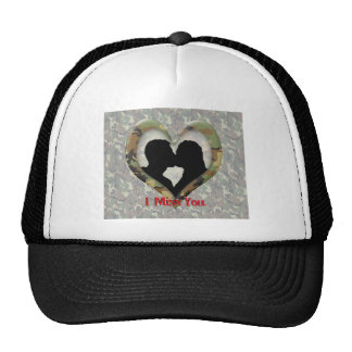 "Kissing Couple Silhouette ""I Miss You"" Mesh Hats"