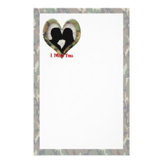 "Kissing Couple Silhouette ""I Miss You"" Stationery"