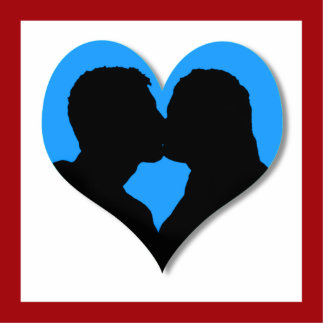 Kissing Couple Silhouette on Blue Heart Standing Photo Sculpture