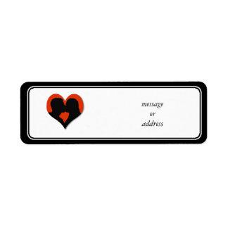 Kissing Couple Silhouette on Red Heart Custom Return Address Labels