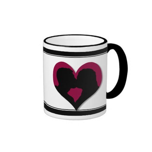 Kissing Couple Silhouette on Red Heart Mugs