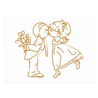 Kissing Couple Sketch Postcard