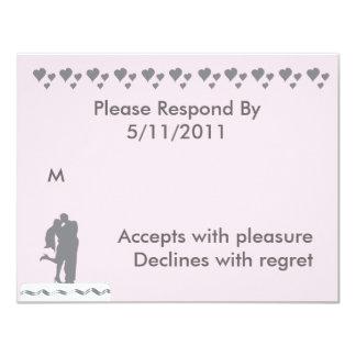 Kissing Couple Wedding CakeTopper RSVP Card
