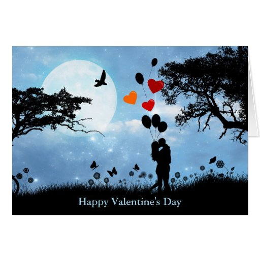 Kissing Couple With Heart Balloons Valentine Card