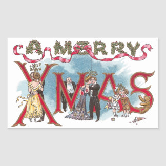 Kissing Couples Vintage XMAS Rectangle Stickers