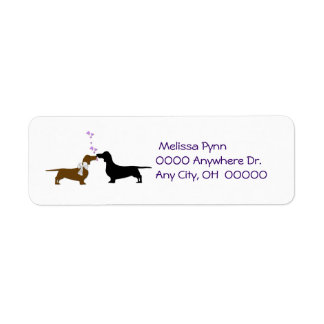 Kissing Dachshunds Return Address Label