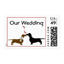 Kissing Dachshunds Wedding Stamps