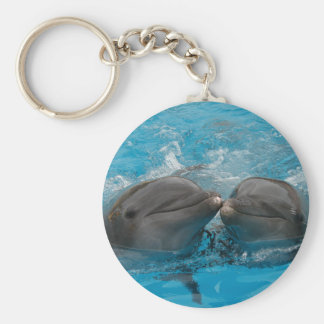 Kissing Dolphins Basic Round Button Keychain