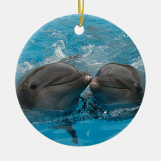Kissing Dolphins Ceramic Ornament