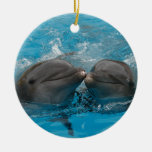 Kissing Dolphins Christmas Ornaments
