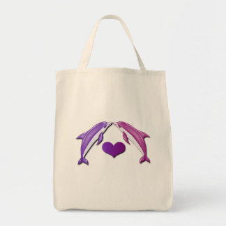 Kissing Dolphins Grocery Bag