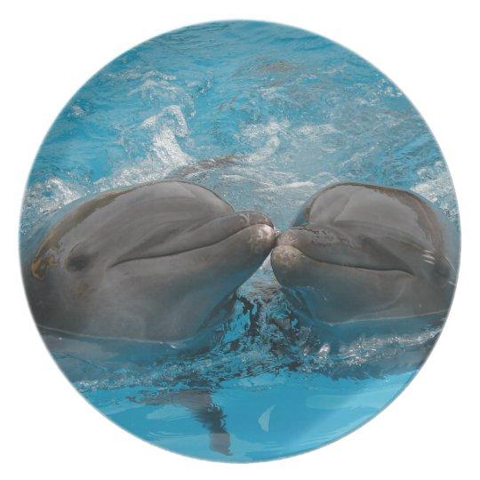 Kissing Dolphins Melamine Plate