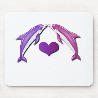 Kissing Dolphins Mouse Pad