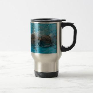 Kissing Dolphins 15 Oz Stainless Steel Travel Mug