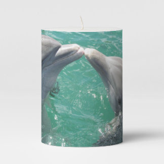 Kissing Dolphins Pillar Candle
