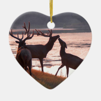 Kissing Elk Ceramic Ornament
