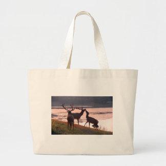 Kissing Elk Large Tote Bag