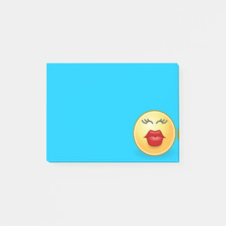 Kissing Face on Blue Post It Note